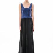 Blue sequin maxi dress front