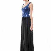 Blue sequin maxi dress side