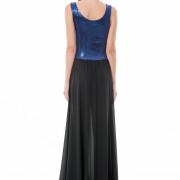 Blue sequin maxi dress back