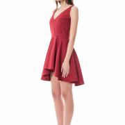 bordeaux asymmetrical short red dress side
