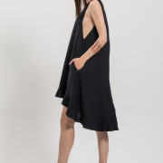 H-era asymmetrical black dress side