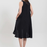 H-era asymmetrical black dress back