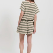 H-era knitted striped playsuit back