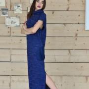 h-era long knitted flannel dress side