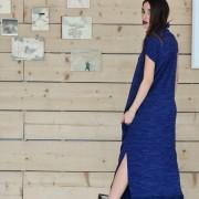 h-era long knitted flannel dress back
