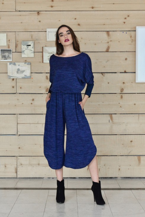 h-era blue knitted flannel jumpsuit front