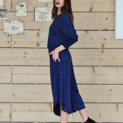 h-era blue knitted flannel jumpsuit side