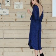 h-era blue knitted flannel jumpsuit back