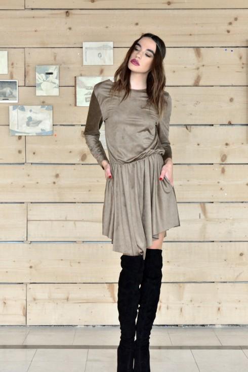 h-era brown alcantara short dress front
