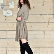 h-era brown alcantara short dress side