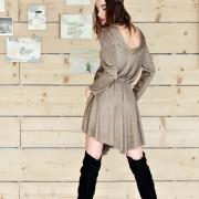 h-era brown alcantara short dress back
