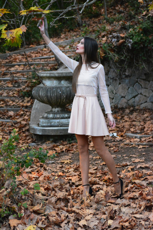 h-era mini nude pink dress