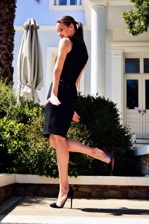 h-era black pencil dress side