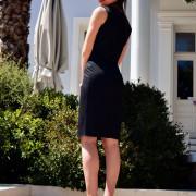 h-era black pencil dress back