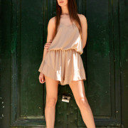 h-era nude playsuit with ruffles
