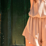h-era nude playsuit with ruffles detail