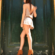 h-era nude playsuit with ruffles back