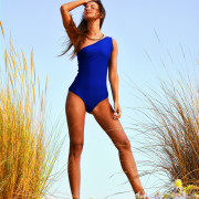 h-era blue one-piece swimsuit