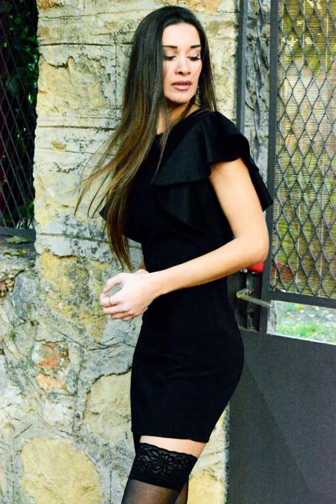 hera black ruffle mini dress