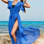 h-era blue kaftan dress