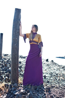 hera maxi mustard and purple dress front