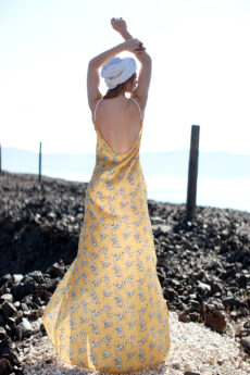 hera maxi yellow slip dress
