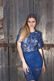 hera midi blue lace dress