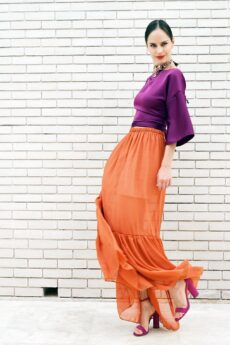 h-era orange long skirt