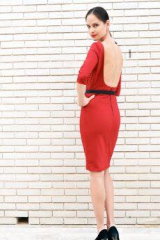 h-era midi burgundy dress