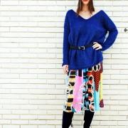 h-era blue knitted top