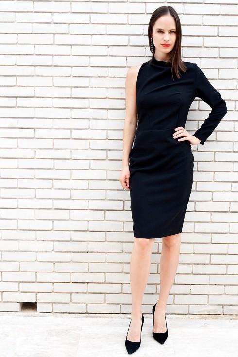 h-era midi black dress