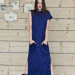 h-era long knitted flannel dress front