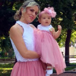 pink tutu and lace top and matching babywear