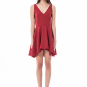 bordeaux asymmetrical short red dress front