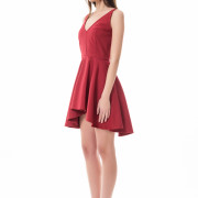 bordeaux asymmetrical short red dress side