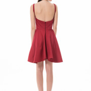 bordeaux asymmetrical short red dress back