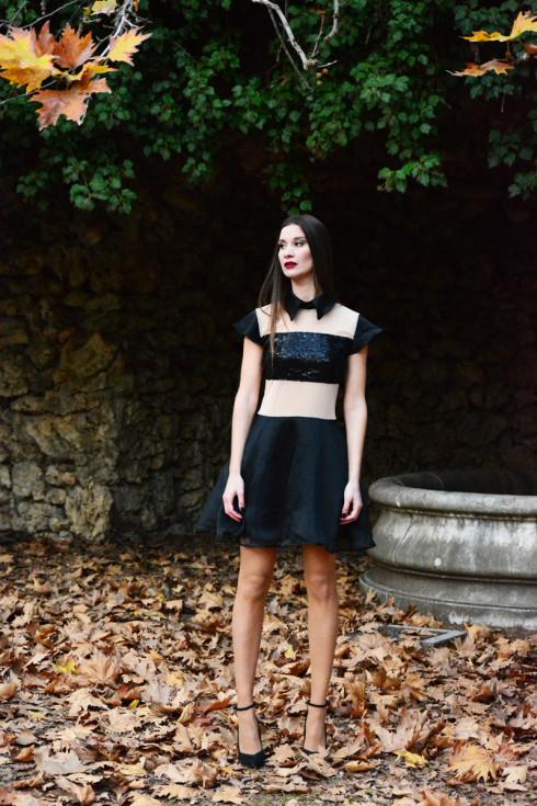 h-era mini black dress
