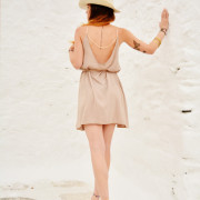 h-era mini slip dress with pink golden lace βαψκ