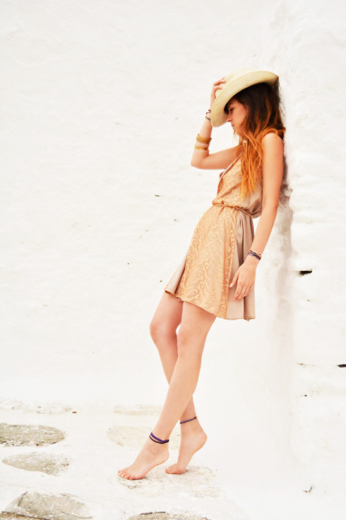 h-era mini slip dress with pink golden lace