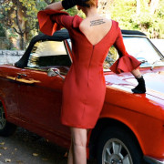 h-era burgundy midi dress