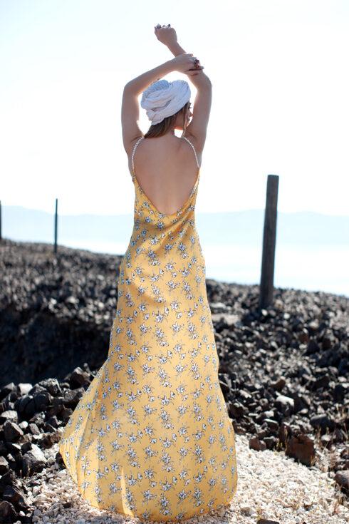 hera maxi yellow slip dress