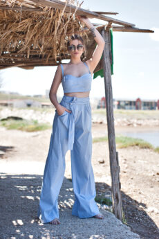 hera baby blue striped loose pants