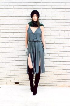 h-era grey slip dress