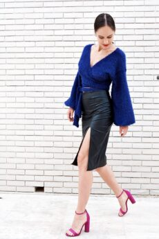 h-era midi leather skirt
