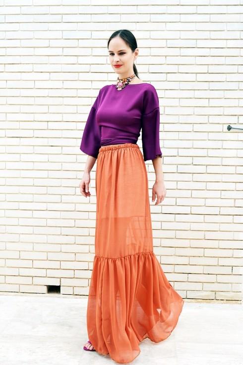 h-era orange long skirt
