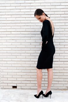 h-era midi black dress
