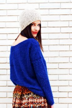 h-era blue knitted top