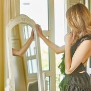 h-era black lace ruffle dress
