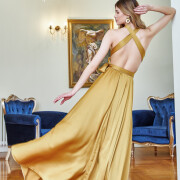 h-era maxi mustard dress