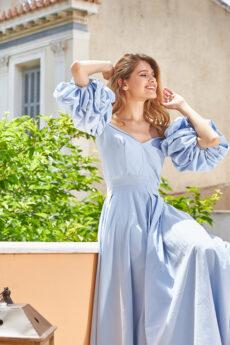 h-era light blue maxi dress